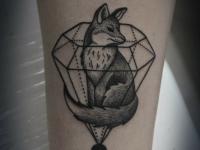 Татуировка лиса в бриллианте