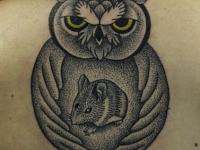 Татуировка филин и хомяк