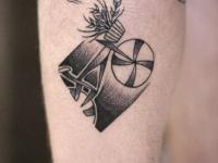 Татуировка вазон на велосипеде
