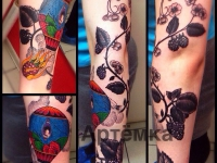 Татуировка цветок и воздушный шар на руке