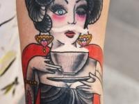 Татуировка гейша на предплечье