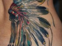 Татуировка индейская тематика на боку