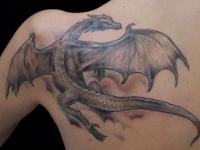 Татуировка дракон на лопатке
