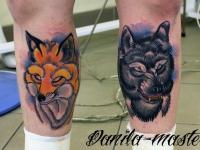 Татуировка волк и лиса