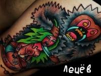 Татуировка чудовище с девушкой