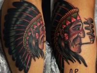 Татуировка индеец с трубкой