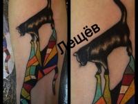 Татуировка Чёрный кот и цветная тень