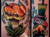 Татуировка лиса и зонтик