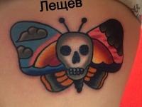 Татуировка череп и бабочка