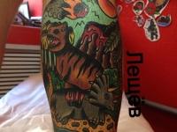 Татуировка животные на икре