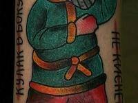 Татуировка мужик в лаптях