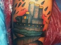 Татуировка пароход на икре