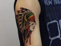 Татуировка индеец с перьями