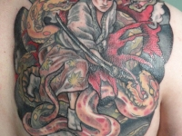Татуировка самурай на лопатке