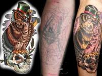Татуировка филин с черепом
