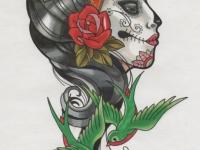 Татуировка голова девушки с ласточками