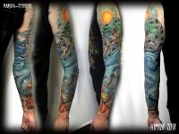 Татуировка морской берег на руке