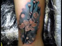 Татуировка цветущая веточка на голени