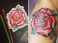 Татуировка цветной розы на руке