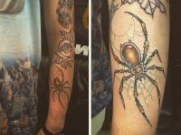 Татуировка паук с паутиной  на руке