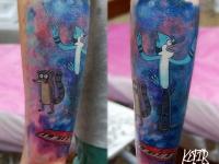 Татуировка мультяшная на предплечье