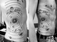 Татуировка солнечная система на боку