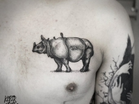 Татуировка единорог на груди