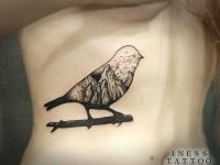 Татуировка птичка-пейзаж на ветке