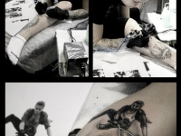 Татуировка девушки на велосипеде на руке