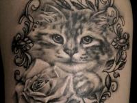 Татуировка головы котенка в узорной рамке на руке