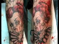 Татуировка плачущей принцессы на руке