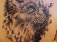 Татуировка кошка на лопатке