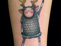 Татуировка олень в кольчуге