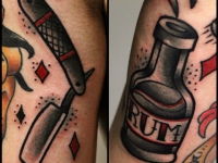 Татуировка бритва и бутылка рома