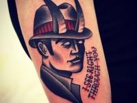 Татуировка мужчина с рогами