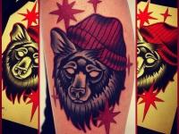 Татуировка медведь в шапке