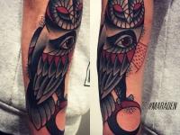 Татуировка большая сова с 3 глазами