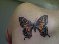 Татуировка бабочка на лопатке