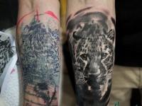 Татуировка головы рыси на руке