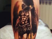 Татуировка воин со щитом