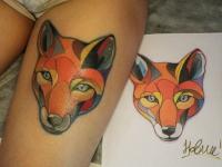 Тату разноцветная голова лисы