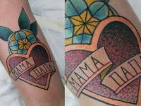 Татуировка сердце с надписью