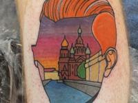Татуировка голова и кремль