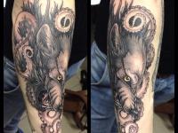 Татуировка голова злого волка