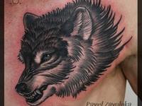 Татуировка голова волка на груди