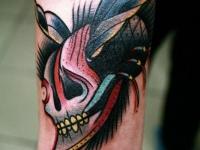 Татуировка череп на предплечье