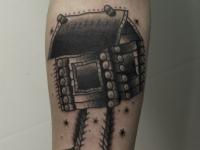 Татуировка избушка на предплечье