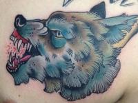Татуировка волк на груди