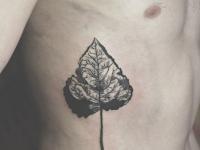 Татуировка листик на боку