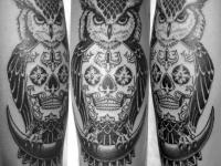 Татуировка череп и сова